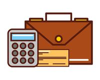 Business briefcase calculator check bank royalty free illustration