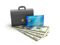 Business briefcase, credit card and dollar bills Royalty Free Stock Image