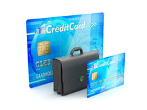 Business briefcase and credit cards as business symbols Royalty Free Stock Images