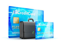 Business briefcase and credit cards Stock Photo