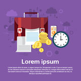 Business Briefcase With Documents Money Web Banner. Flat Vector Illustration Royalty Free Stock Images