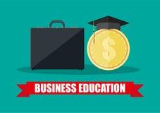 Business briefcase, graduation cap, gold coin Royalty Free Stock Photos
