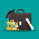 Business briefcase, graduation cap, money, diploma. Business briefcase, graduation cap, money stacks and rolled diploma. Business graduation concept. Vector Royalty Free Stock Image
