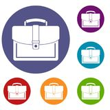 Business briefcase icons set. In flat circle reb, blue and green color for web Royalty Free Stock Photo