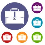 Business briefcase icons set. In flat circle red, blue and green color for web Stock Image