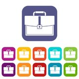 Business briefcase icons set flat Royalty Free Stock Image