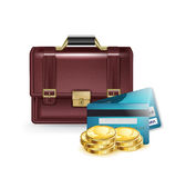 Business briefcase illustration with credit cards and coins isol Royalty Free Stock Image