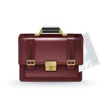 Business briefcase illustration with papers inside  on w Stock Image
