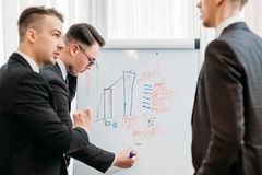 Business briefing visualization flip chart office stock images