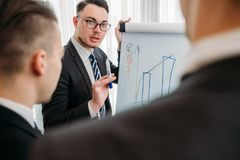Business briefing visualization flip chart office. Business briefing and goals visualization. company managers writing on the flip chart in office board room royalty free stock images
