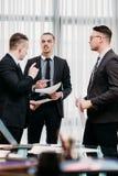 Business briefing leadership boss team office stock photos