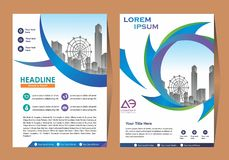 Business Brochure Background Design Template, Layout, Poster, Magazine, Annual Report, Book, Booklet with Building Image. Size. Vector Design illustration royalty free illustration