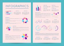 Business brochure with various infographics. Business brochure with colorful infographics. Financial data visualization, commercial infochart, marketing Royalty Free Stock Photo