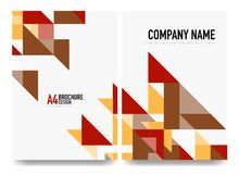 Business brochure cover layout, flyer a4 template. Triangle red and orange geometric design Stock Images