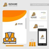 Business brochure design with orange theme and labour logo vecto. R. For web design and application interface, also useful for infographics. Vector illustration Royalty Free Illustration