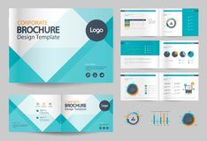 Business brochure design template and page layout for company profile. Annual report,with page cover design Royalty Free Stock Photo