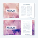 Business brochure design template. Vector flyer layout, abstract colorful polygonal background, leaflet, cover, poster. Business brochure design template Stock Images