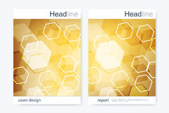 Business brochure design template. Vector flyer layout, abstract golden hexagonal Royalty Free Stock Photos