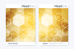 Business brochure design template. Vector flyer layout, abstract golden hexagonal, polygonal background, modern stylish Royalty Free Stock Images