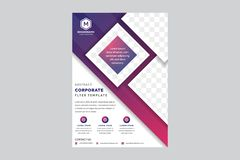 Free Business Brochure, Flyer And Cover Design Layout Template With Red, Pink And Purple Geometric Triangle Shapes And White Background Stock Photography - 166545662