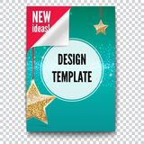 Business brochure, flyer design, layout template in A4 size. Paper poster with gold stars and glittering shine on. Backdrop, on trasparent background, 3D Stock Illustration