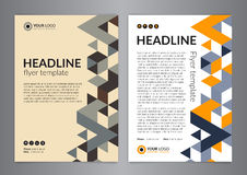 Business brochure flyer design layout template, size A4, with triangle pattern. Modern Backgrounds. Royalty Free Stock Images