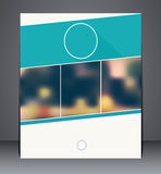 Business brochure flyer design in A4 size, layout cover design in blue colors with blurred background. Business brochure flyer design in A4 size stock illustration