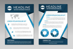 Business brochure flyer design template. A4 size. Brochure flyer leaflet design template. A4 size. Front and back page. Business layout with infographic elements Royalty Free Stock Photo