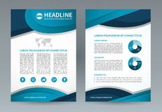 Business brochure flyer design template. A4 size. Vector layout with icons and infographic elements. Can be used for booklet, leaflet, catalog, annual report Stock Images