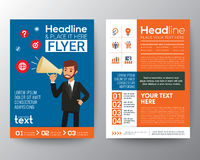 Business brochure flyer template layout with businessman holding megaphone Royalty Free Stock Photography