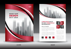 Business Brochure flyer template, Red cover design Stock Image