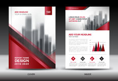 Business Brochure flyer template, red cover design Royalty Free Stock Images