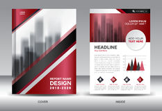 Business Brochure flyer template, red cover design Stock Images