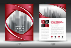 Business Brochure flyer template, Red cover design, catalog Royalty Free Stock Images