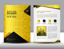 Business brochure flyer template in A4 size, Gold Cover design. Annual report, magazine ads, catalog layout, advertisement vector Stock Photo