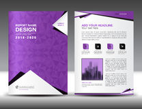 Business brochure flyer template in A4 size, Purple Cover design. Annual report, magazine, catalog layout, advertisement vector, ads Stock Images