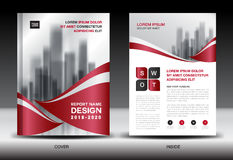 Business Brochure flyer templater, red cover design Royalty Free Stock Photo