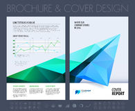 Business brochure with polygonal plane. Vector illustration. Stock Image