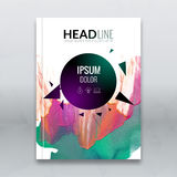 Business brochure report design template. Vector flyer layout, colorful watercolor polygonal triangle background mockup. Elements for magazine, cover, poster Royalty Free Stock Photo