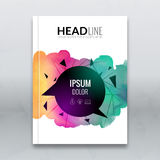 Business brochure report design template. Vector flyer layout, colorful watercolor polygonal triangle background mockup. Elements for magazine, cover, poster Royalty Free Stock Photos