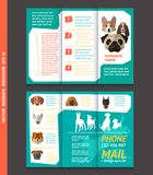 Business brochure template with face of dogs, vector design. Eps 10. Can be used for pet shop Royalty Free Stock Photos