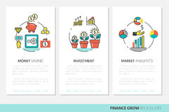 Business Brochure Template with Finance Investment Linear Thin Icons. Business Brochure Template with Finance Investment Linear Thin Vector Icons Royalty Free Stock Image