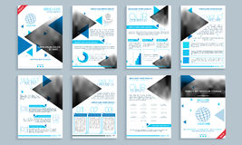 Business brochure, template or flyer set. Creative brochure template set, cover design and flyer layout with space for your images and text. Vector illustration Royalty Free Stock Images