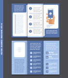Business brochure template with hand holding a smart phone, icon Royalty Free Stock Photo