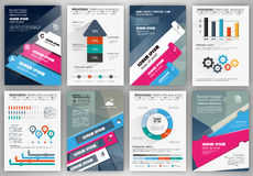 Business brochure template with infographic elements Stock Image