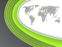 Business brochure with world map in green with tire tread Stock Photography
