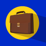 Business brown briefcase a background. Flat icon with briefcase on background with shadow Royalty Free Stock Photos