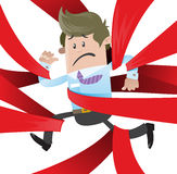 Business Buddy is caught up in Red Tape. Illustration of Business Buddy clearly very distressed with the bureaucratic red tape that hes got caught up in Stock Image