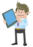 Business Buddy with Computer Tablet. Illustration of Business Buddy calculating his business activities on his snazzy computer tablet royalty free illustration