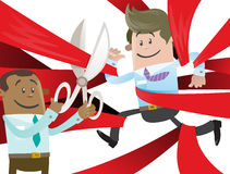 Business Buddy is Cut Free from Red Tape. Illustration of Business Buddy clearly very happy to be set free from the bureaucratic red tape that hes got caught up Stock Photos